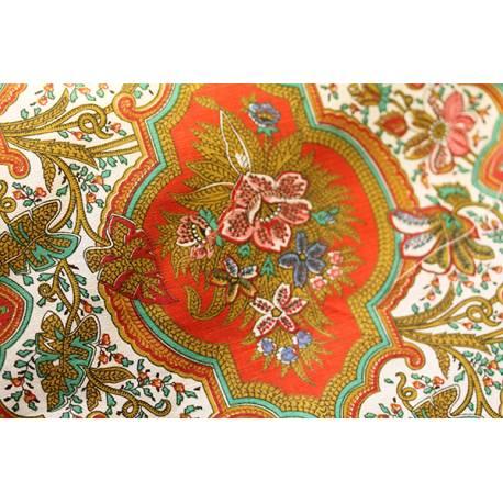 coupon ancien Indian fleuri / rouge